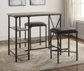 Rustic Table Amp Stools 3 Piece Counter Bar Set Big Lots