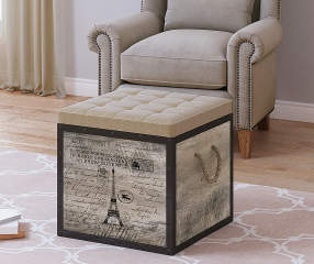 Stratford Rustic Travel Stamped Storage Ottoman Big Lots
