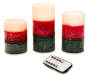 Rustic Tri-Layer Flameless LED Pillar Candles with Remote 3-Pack Silo