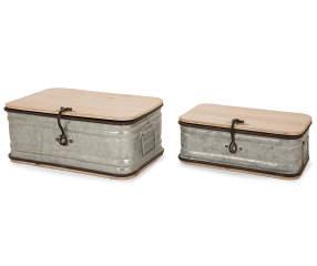 Glitzhome Galvanized Metal Amp Wood Storage Chests 2 Pack