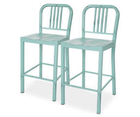 Glitzhome Vintage Mint Green Metal Counter Chairs 2 Pack