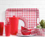 SET OF 4 MIXED MELAMINE GINGHAM PICNIC DINNER PLATES - RED COLOR