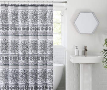 Project Runway Safi Gray Lavender Medallion Fabric Shower Curtain