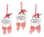 Santa Hat Snowman Ornaments with Glasses and Bows 3 Pack Silo Image