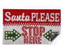 Santa Please Stop Here Coir Outdoor Doormat 18 Inches by 30 Inches Corner Fold Overhead View Silo Image