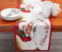 Santa Tapestry Christmas Runner on Table with Plate and Cup Props Room View
