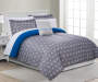 Sarah Gray  White and Blue Geo Queen 8 Piece Reversible Comforter Set lifestyle bedroom