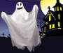 Scary Flying Ghost on Halloween Background