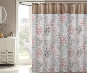 Project Runway Sedona Tan Gray Amp Coral Shower Curtain