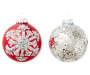 Sequin Silver and Snowflake Glass Ornaments 8-Pack In Package Silo
