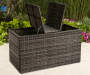Shadow Creek All Weather Wicker Storage Deck Box lifestyle lid up