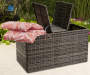 Shadow Creek All Weather Wicker Storage Deck Box lifestyle with pillow prop