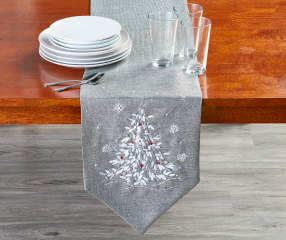 Silver Ribbon Tree Christmas Table Runner 72 Quot X 13