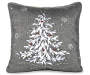 Silver Ribbon Tree Throw Pillow Silo