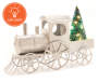 Silver Train LED Christmas Tree Tabletop Decor Light On Side View Silo Image