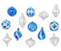 Silver and Blue Multi-Shape Shatterproof Ornaments 16-Pack Silo