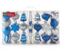 Silver and Blue Shatterproof Ornaments 43-Pack In Package Silo