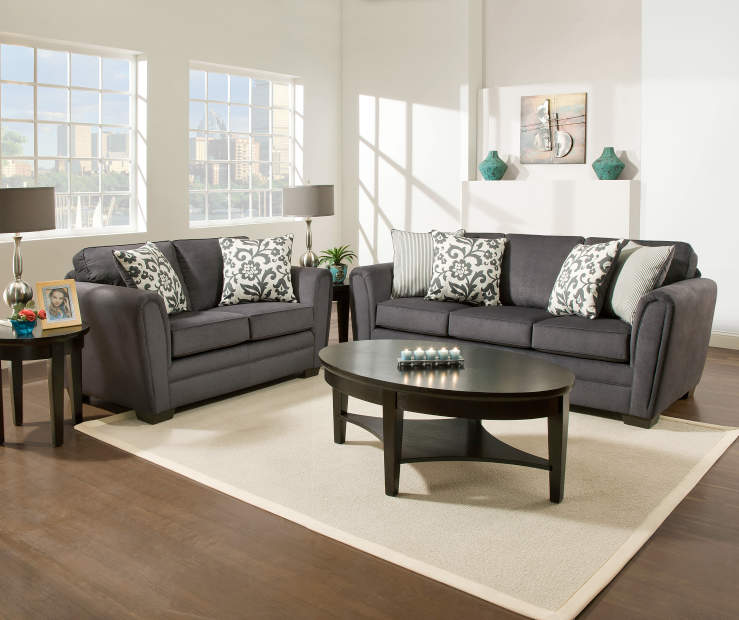 Simmons flannel charcoal living room furniture collection for Furniture collection