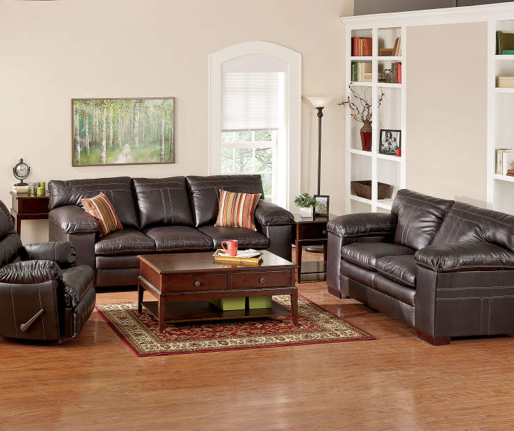 Simmons lowell espresso living room furniture collection for Simmons living room furniture