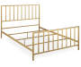 Slat Style Brushed Gold Queen Metal Bed Frame silo angled