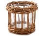 Small Rattan and Glass LED Candle Holder silo front