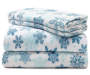 Snowflake Fleece 4 Piece Queen Sheet Set Folded and Stacked Silo Image