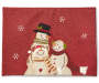 Snowman Applique Christmas Placemat with Stitch Snowflakes Overhead Shot Silo Image