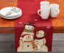 Snowman Applique Christmas Table Runner on Table with Plate and Cup Props Room View