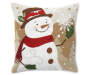 Snowman Christmas Chenille Decorative Pillow 18 Inches by 18 Inches Front View Silo Image