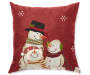 Snowman Family Embroidered Decorative Pillow 17 Inches by 17 Inches Front View Silo Image