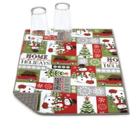 Snowman Sentiment Christmas Reversible Dish Drying Mat