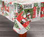 Snowman Sentiment Vinyl Christmas Tablecloth 52 Inches by 90 Inches Corner Fold on Table Room View