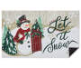 Snowman and Sled Rubber Outdoor Doormat  Silo Image Corner Folded