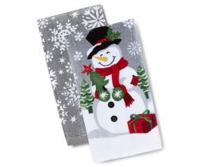 Snowman Sentiment Christmas Kitchen Towels 2 Pack Big Lots
