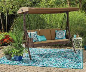 Wilson Amp Fisher Sonoma Resin Wicker 3 Person Canopy Swing