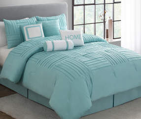 Aprima Spa Blue Pleated King 8 Piece Comforter Set Big Lots
