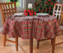 Sparkle Plaid Christmas Round Tablecloth 60 Inches on Round Table Lifestyle Image