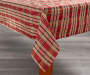Sparkle Plaid Christmas Tablecloth 60 Inches by 84 Inches Corner Fold on Table