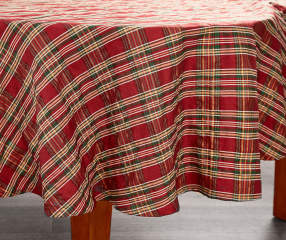 Sparkle Plaid Round Christmas Tablecloth 60 Quot Big Lots