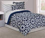 Spiral Navy Twin 6-Piece Reversible Comforter Set
