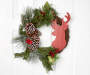 Stag Head Twig Half Wreath 18 Inches on White Door
