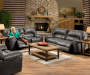 Stallion Gray Motion Sofa Console Loveseat and Snuggle Up Recliner in Room Setting with Model Lifestyle Image