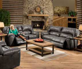 Stratolounger stallion gray reclining living room - Simmons living room furniture sets ...