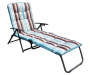 Stripe Padded Folding Outdoor Lounge Chair Silo Angle
