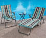 Striped Padded Folding Chaise and Chair Outdoor Setting Lifestyle Image