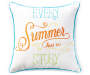 Summer Story Embroidery Outdoor Throw Pillow 20in x 20in silo front