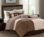 Sundance Neutral 7 Piece Queen Comforter Set On Bed in Room Setting Lifestyle Image