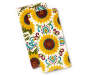 Sunflower Harvest Kitchen Towels 2 Pack Stacked and Fanned Overhead View Silo Image