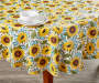 Sunflower Harvest Round Tablecloth 60 Inches On Table with Props Lifestyle Image