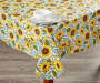 Sunflower Harvest Tablecloth 52 Inches by 90 Inches On Table with Props Lifestyle Image